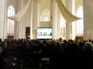 Hellraumleinwand im Dom zu Lübeck