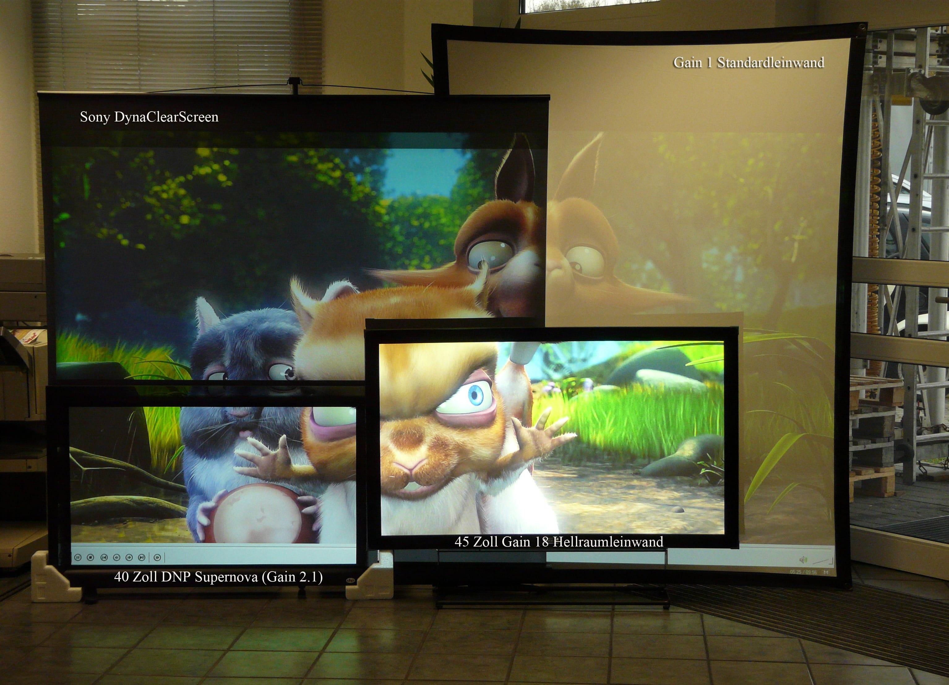 Revosoft Gain18 Hellraumleinwand Vergleich mit 5000 ANSI Lumen LCD Projektor mit Sony DynaClearScreen und DNP SuperNova - Tagungsraum