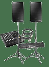 Kleines PA Audio Set bestehend aus Powermixer, zwei PA Lautsprecherboxen, Lautsprecherstativen, Kabelset.