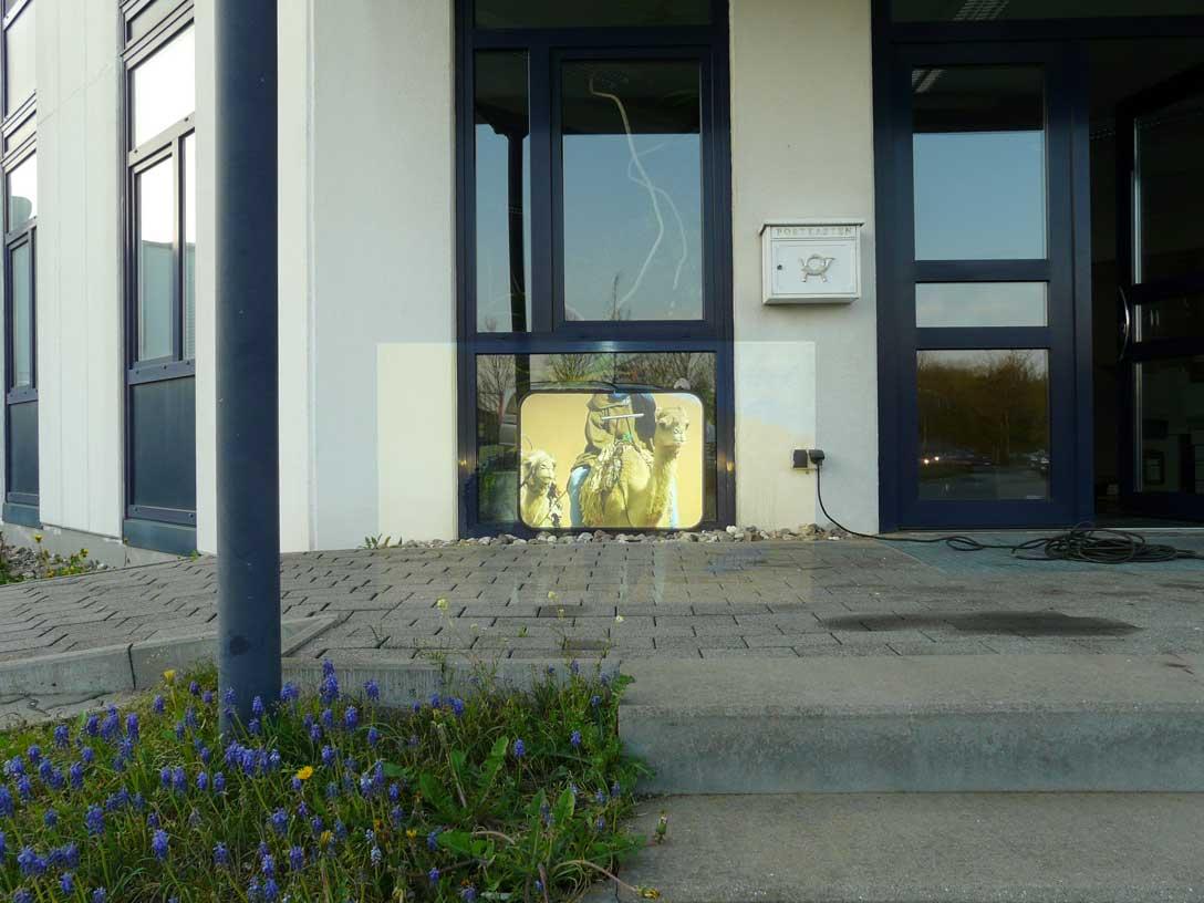 5000 ANSI Lumen WUXGA Projektor bei 2700 Lux im Außenbereich (ca. 180 cm Bildbreite ausgeleuchtet, davon ca. 60 cm als Gain 26 Hellraumleinwand)