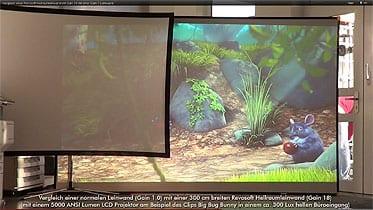 Eine Hellraumleinwand im Vergleich mit einer normalen Beamer Leinwand. Hellraumleinwände ermöglichen kontrastreiche Darstellungen in hellen Räumen.