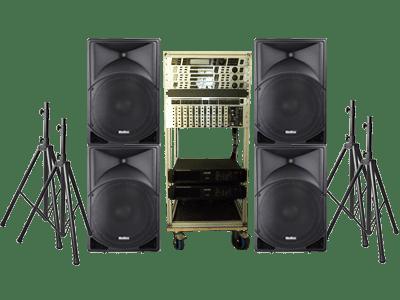 PA Anlagen Set mit Audiorack mit Feedbackdestroyer, Klangoptimierer, Soundprozessor, PA Endstufen, PA-Lautsprechern, Boxenstativen und Kabelset