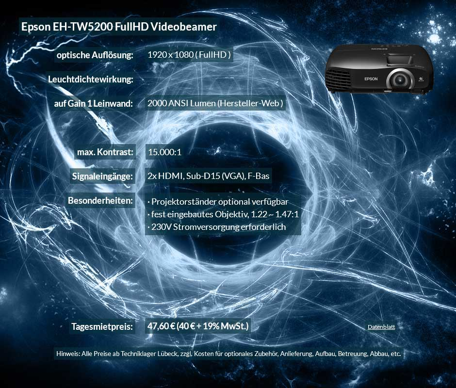 Angebot zur Beamer Ausleihe Epson TW5200 FullHD Heimkinoprojektor zum Tagesmietpreis von 40 Euro + Mehrwertsteuer