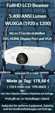 Projektor Verleih Angebot: Panasonic PT EZ580 WUXGA LCD Beamer mit 5400 ANSI Lumen.