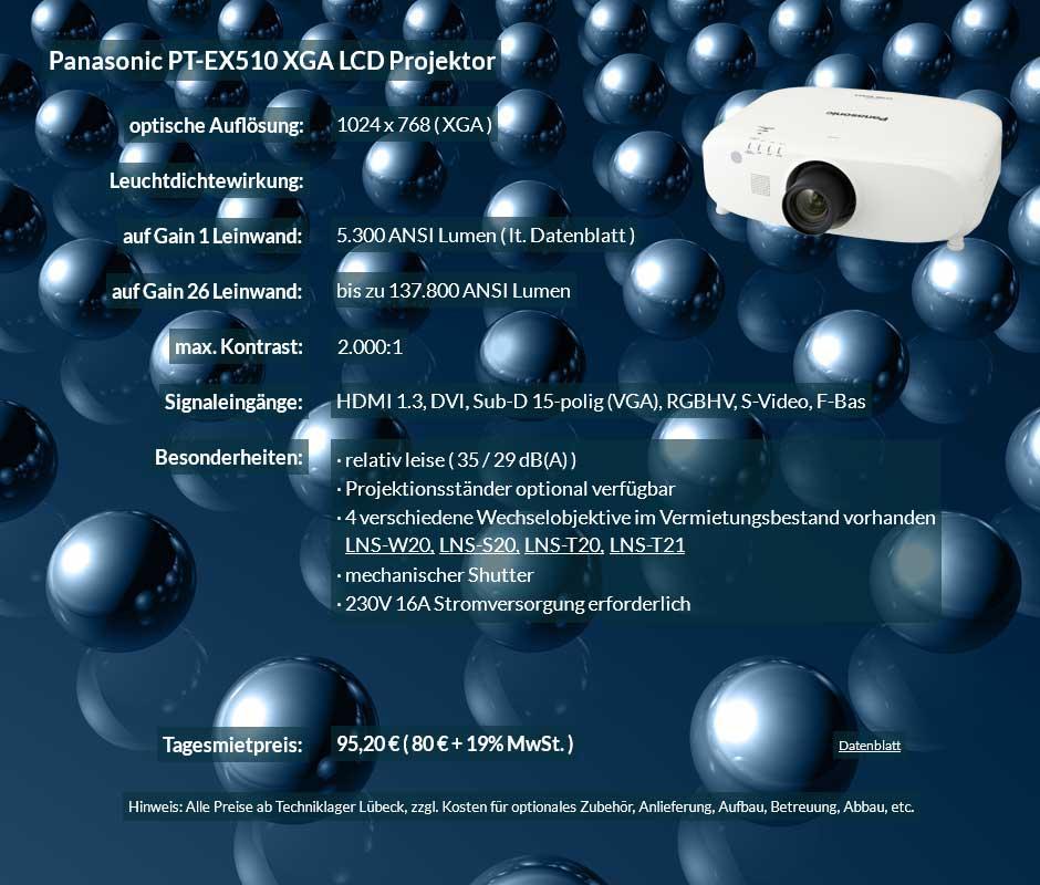 Mietangebot: Panasonic PT EX 510