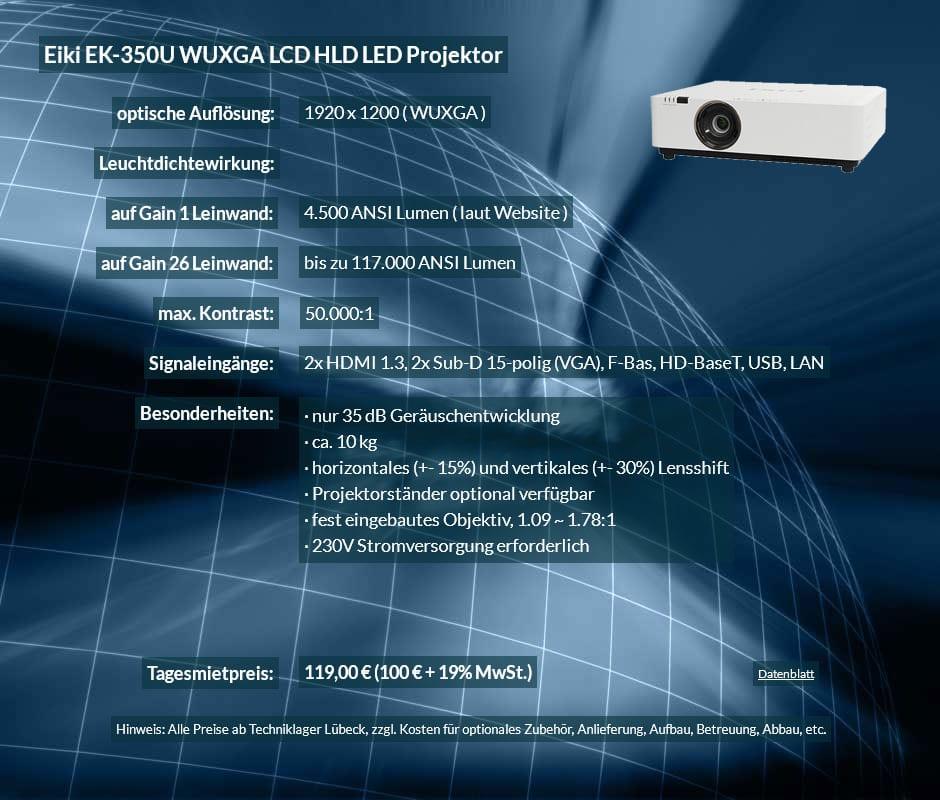 Mietangebot: WUXGA LCD HLD LED Projektor Eiki EK-350U