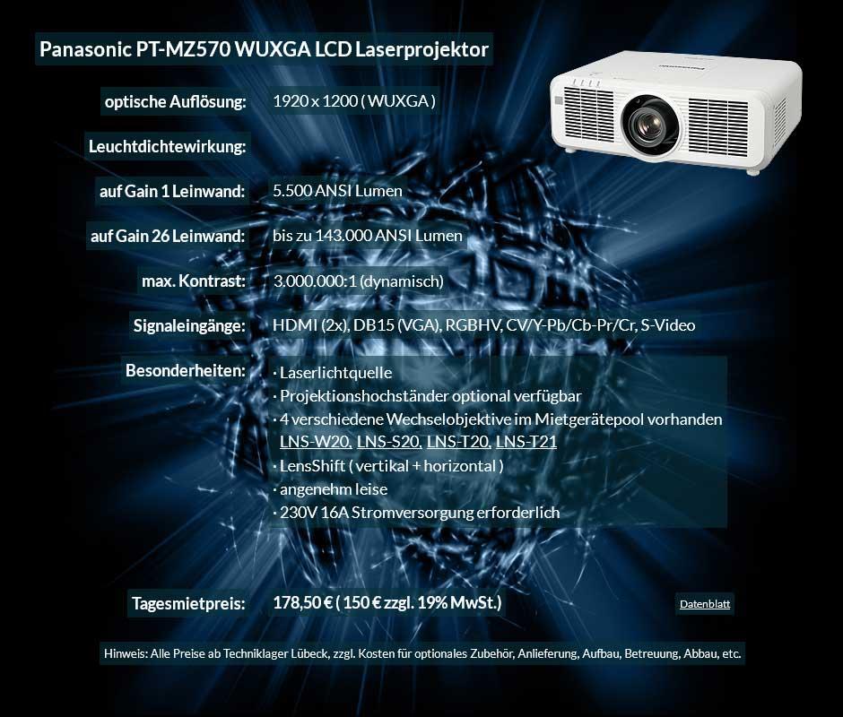 Vermietungsangebot WUXGA LCD Laserprojektor Panasonic PT MZ570
