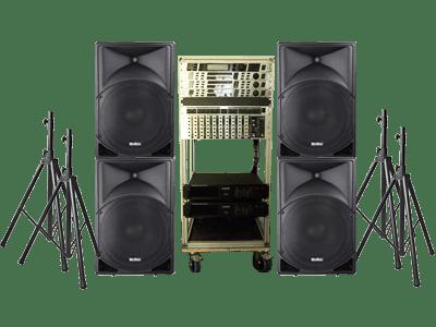 PA Anlage mit PA-Lautsprecher und Stativen zur Miete, Boxen, Rednerpult, Podest